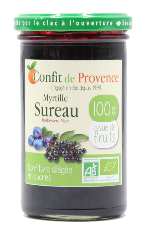 Blueberry Elderberry Light Organic Jam 100% Fruits - Confit de Provence
